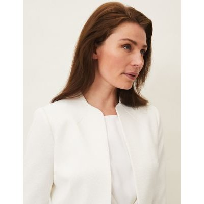M&S Phase Eight Womens Cotton Textured Cropped Jacket - 16 - Ivory, Ivory
