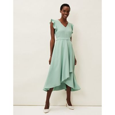 M&S Phase Eight Womens V-Neck Frill Detail Dress - 8 - Green, Green