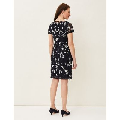 M&S Phase Eight Womens Floral Embroidered Round Neck Shift Dress - 8 - Blue, Blue
