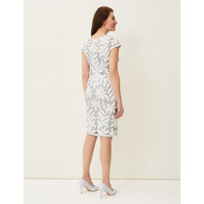 M&S Phase Eight Womens Lace Knee Length Dress - 16 - Blue, Blue