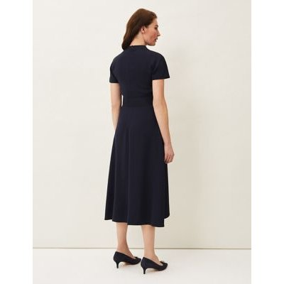 M&S Phase Eight Womens Funnel Neck Belted Midi Dress - 16 - Blue, Blue