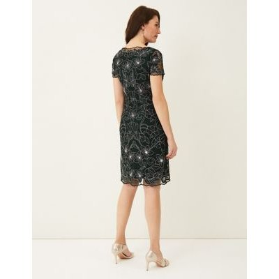 M&S Phase Eight Womens Floral Embroidered Knee Length Shift Dress - 8 - Green, Green