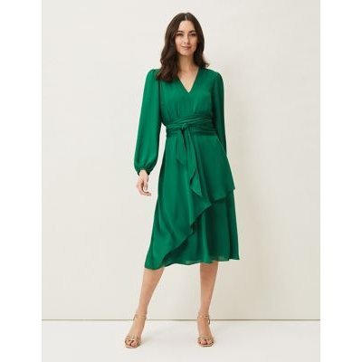M&S Phase Eight Womens Frill V-Neck Waisted Dress - 16 - Green, Green