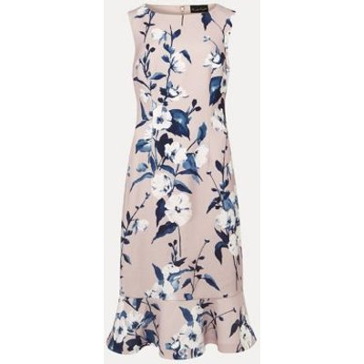 M&S Phase Eight Womens Floral Textured Peplum Dress - 8 - Pink, Pink