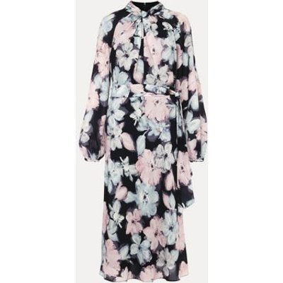 M&S Phase Eight Womens Floral High Neck Tie Front Shift Dress - 8 - Blue, Blue