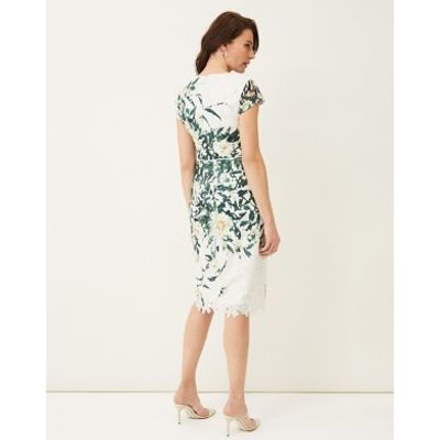 M&S Phase Eight Womens Floral Lace Round Neck Dress - 16 - White, White