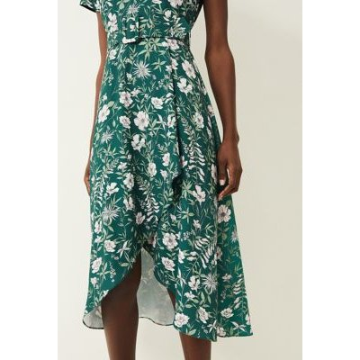 M&S Phase Eight Womens Floral Round Neck Belted Midi Dress - 16 - Green, Green