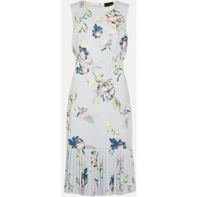 M&S Phase Eight Womens Floral Slash Neck Fitted Dress - 16 - Blue, Blue