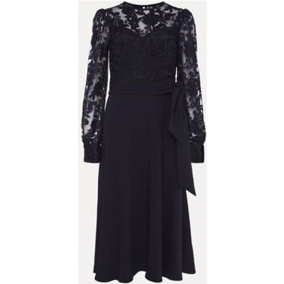 M&S Phase Eight Womens Lace Round Neck Belted Midi Shift Dress - 10 - Blue, Blue