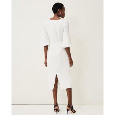 M&S Phase Eight Womens V-Neck Bow Midi Shift Dress - 8 - Cream, Cream