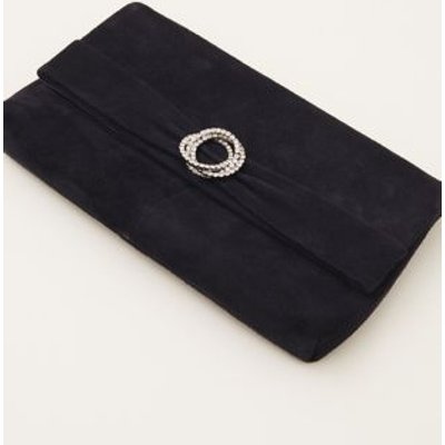 M&S Phase Eight Womens Suede Clutch Bag - 1SIZE - Blue, Blue