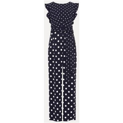 M&S Phase Eight Womens Polka Dot Sleeveless Waisted Jumpsuit - 8 - Blue, Blue