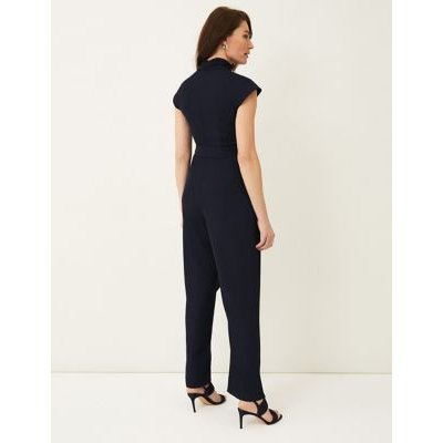 M&S Phase Eight Womens Belted Short Sleeve Jumpsuit - 8 - Blue, Blue