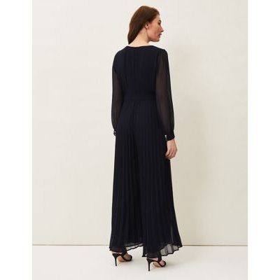 M&S Phase Eight Womens Pleated Long Sleeve Waisted Jumpsuit - 16 - Blue, Blue