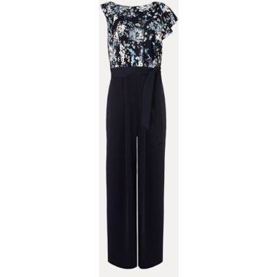 M&S Phase Eight Womens Floral Belted Frill Detail Jumpsuit - 16 - Blue, Blue