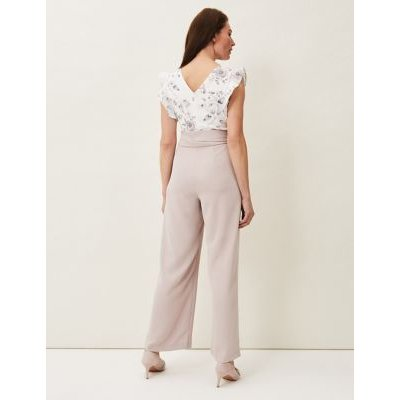 M&S Phase Eight Womens Floral Tie Front Waisted Jumpsuit - 16 - Cream, Cream