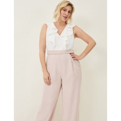 M&S Phase Eight Womens Frill Detail Sleeveless Waisted Jumpsuit - 8 - Pink, Pink