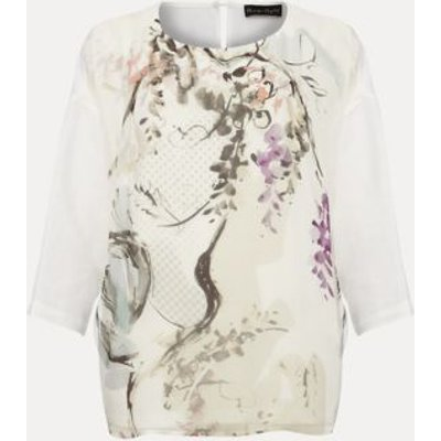 M&S Phase Eight Womens Printed Round Neck 3/4 Sleeve Blouse - 10 - Cream, Cream