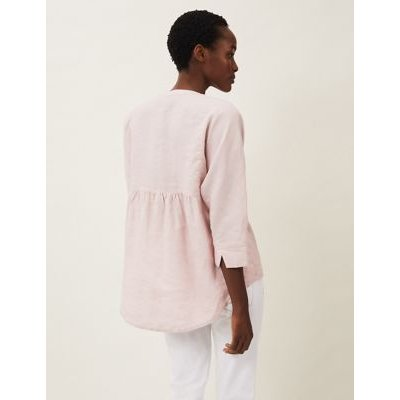 M&S Phase Eight Womens Linen V-Neck 3/4 Sleeve Blouse - 10 - Pink, Pink