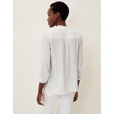 M&S Phase Eight Womens Leaf Print V-Neck Long Sleeve Blouse - 8 - White, White