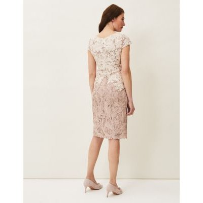 M&S Phase Eight Womens Lace Knee Length Dress - 16 - Brown, Brown