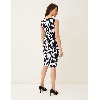 M&S Phase Eight Womens Leaf Print Knee Length Dress - 8 - Blue, Blue