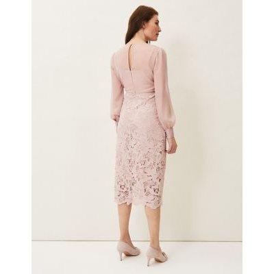 M&S Phase Eight Womens Chiffon Lace Knee Length Dress - 8 - Pink, Pink