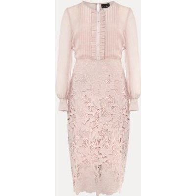 M&S Phase Eight Womens Chiffon Lace Knee Length Dress - 12 - Pink, Pink