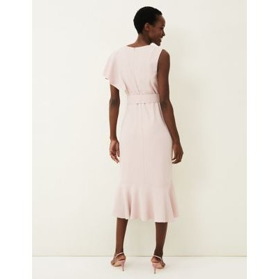 M&S Phase Eight Womens Frill Detail Belted Midi Waisted Dress - 10 - Pink, Pink