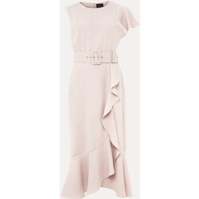 M&S Phase Eight Womens Frill Detail Belted Midi Waisted Dress - 8 - Pink, Pink