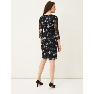 M&S Phase Eight Womens Floral Lace V-Neck Waisted Dress - 8 - Multi, Multi