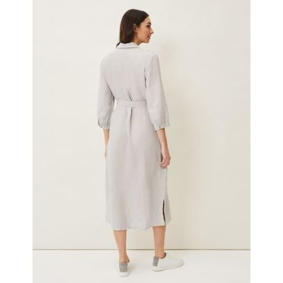 M&S Phase Eight Womens Pure Linen Belted Knee Length Shirt Dress - 14 - Grey, Grey