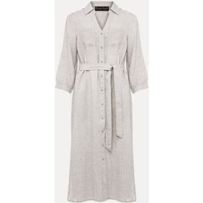 M&S Phase Eight Womens Pure Linen Belted Knee Length Shirt Dress - 8 - Grey, Grey