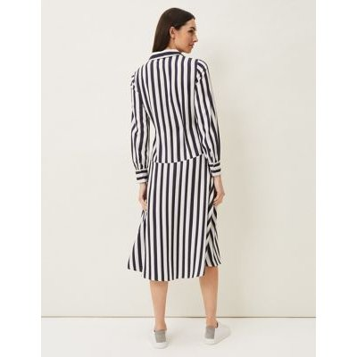M&S Phase Eight Womens Striped Knee Length Shirt Dress - 16 - Blue, Blue