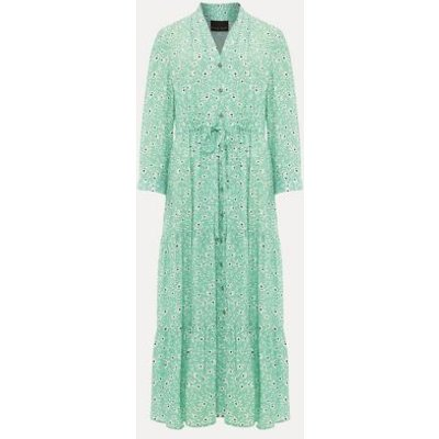 M&S Phase Eight Womens Floral V-Neck Tie Front Midaxi Dress - 8 - Green, Green
