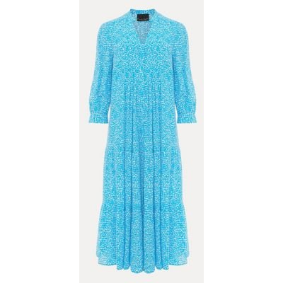 M&S Phase Eight Womens Printed V-Neck Midaxi Swing Dress - 12 - Blue, Blue