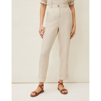 M&S Phase Eight Womens Pure Linen Tapered Trousers - 10 - Stone, Stone