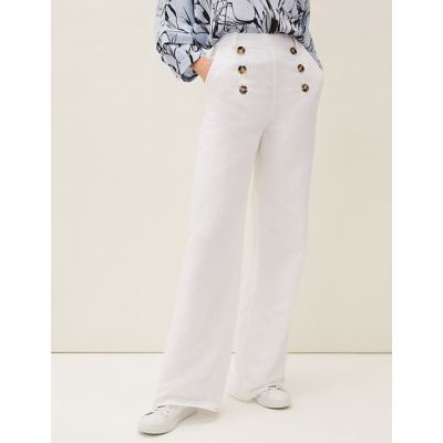 M&S Phase Eight Womens Pure Linen Wide Leg Trousers - 8 - White, White