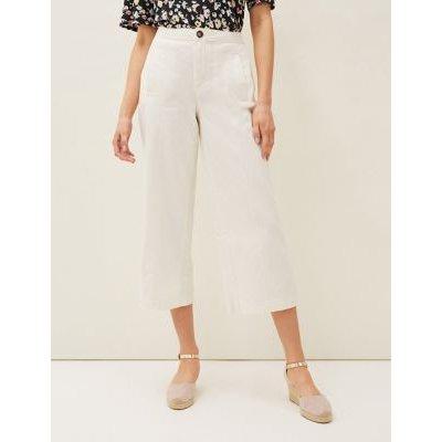 M&S Phase Eight Womens Pure Cotton Wide Leg Culottes - 10 - Cream, Cream