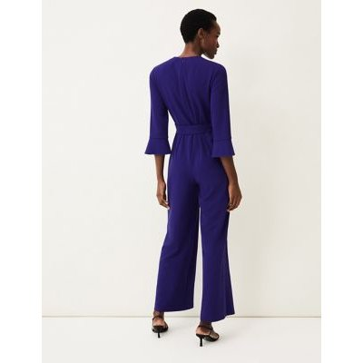 M&S Phase Eight Womens Belted 3/4 Sleeve Jumpsuit - 8 - Royal Blue, Royal Blue
