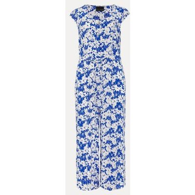 M&S Phase Eight Womens Floral Belted Sleeveless Cropped Jumpsuit - 16 - Blue Mix, Blue Mix