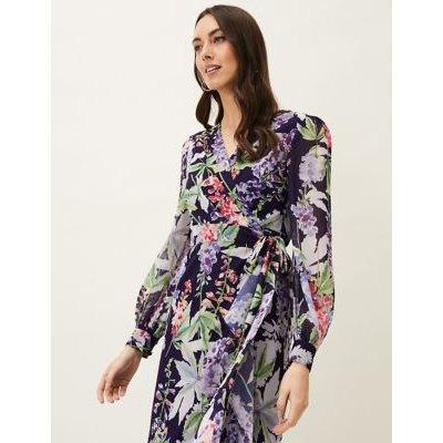 M&S Phase Eight Womens Floral V-Neck Tie Front Maxi Wrap Dress - 8 - Purple Mix, Purple Mix