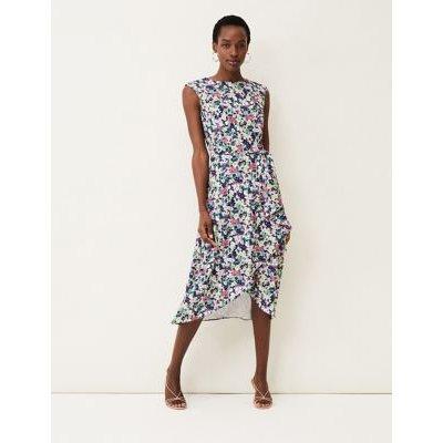M&S Phase Eight Womens Floral Slash Neck Midi Waisted Dress - 8 - Multi, Multi