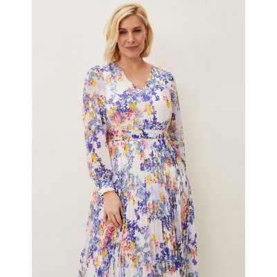 M&S Phase Eight Womens Floral V-Neck Waisted Maxi Dress - 16 - Purple Mix, Purple Mix