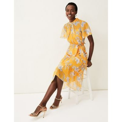 M&S Phase Eight Womens Floral High Neck Tie Front Midi Dress - 16 - Yellow Mix, Yellow Mix