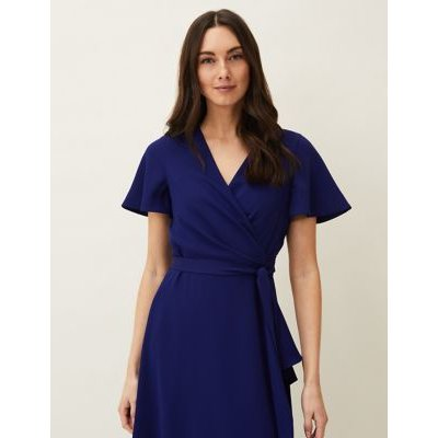 M&S Phase Eight Womens Tie Front Frill Detail Midi Wrap Dress - 8 - Royal Blue, Royal Blue