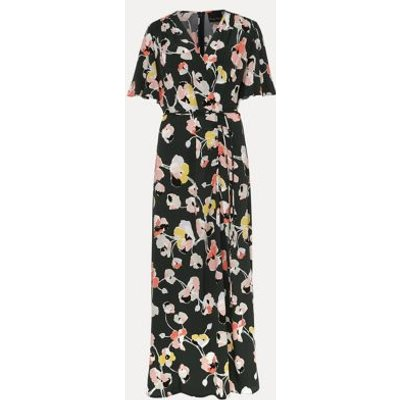 M&S Phase Eight Womens Floral V-Neck Tie Front Midaxi Wrap Dress - 16 - Green Mix, Green Mix
