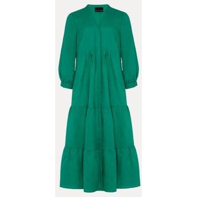 M&S Phase Eight Womens Linen V-Neck Pintuck Midi Shift Dress - 8 - Green, Green