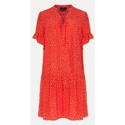 M&S Phase Eight Womens Floral V-Neck Knee Length Swing Dress - 8 - Red, Red