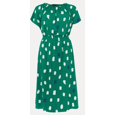 M&S Phase Eight Womens Spot Print Waisted MidiShift Dress - 8 - Green Mix, Green Mix